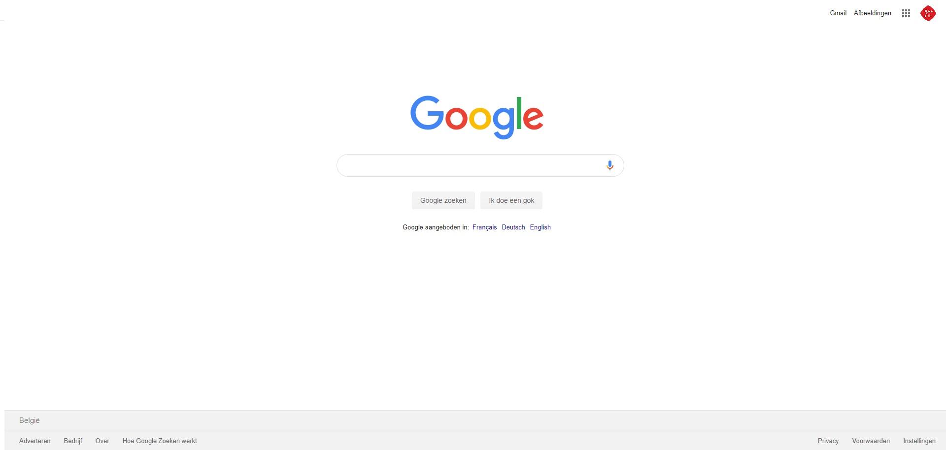 Google, voorbeeld van witruimte op een website