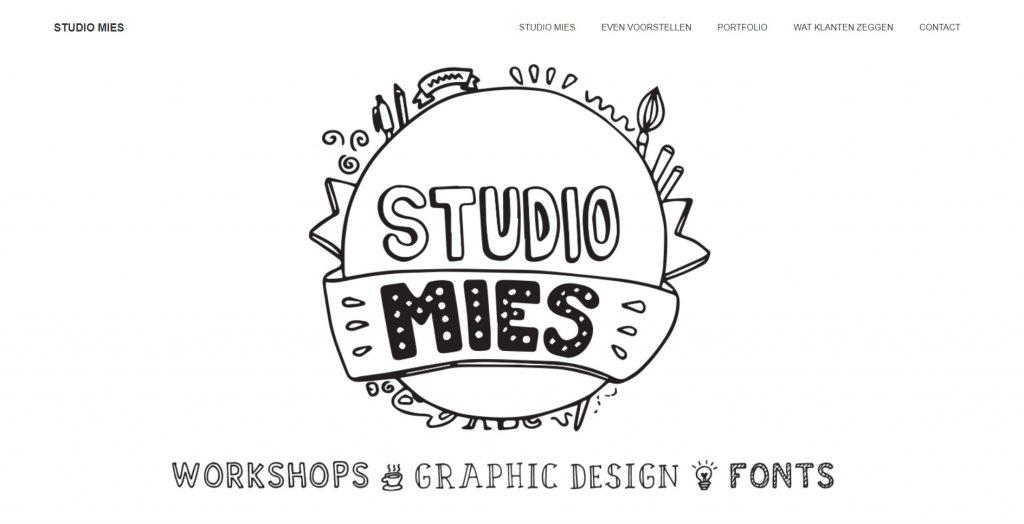 Studio Mies, goed gebruik van handgemaakte tekeningen op een website