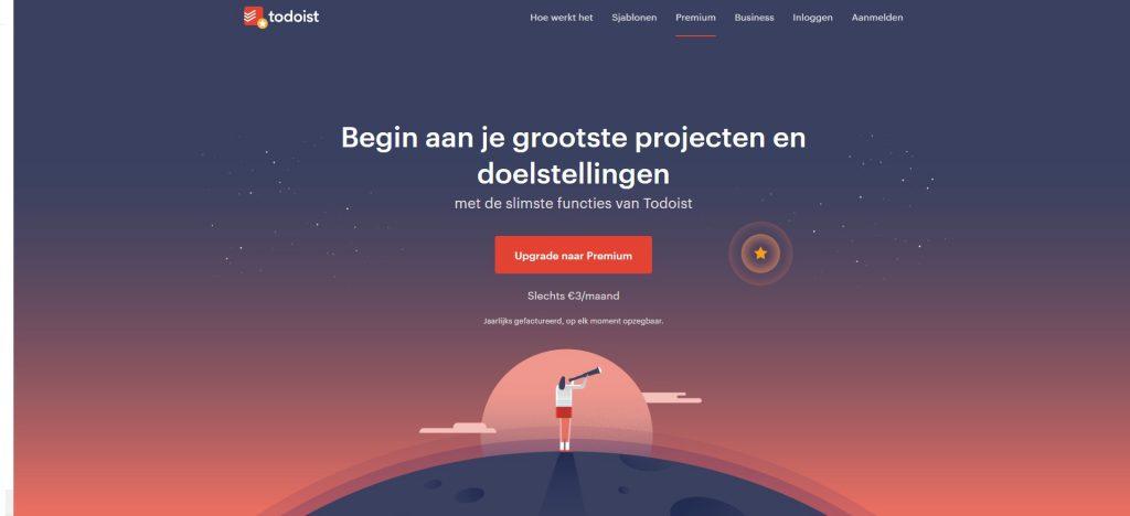 Todoist, voorbeeld van witruimte op een website (die niet wit is)