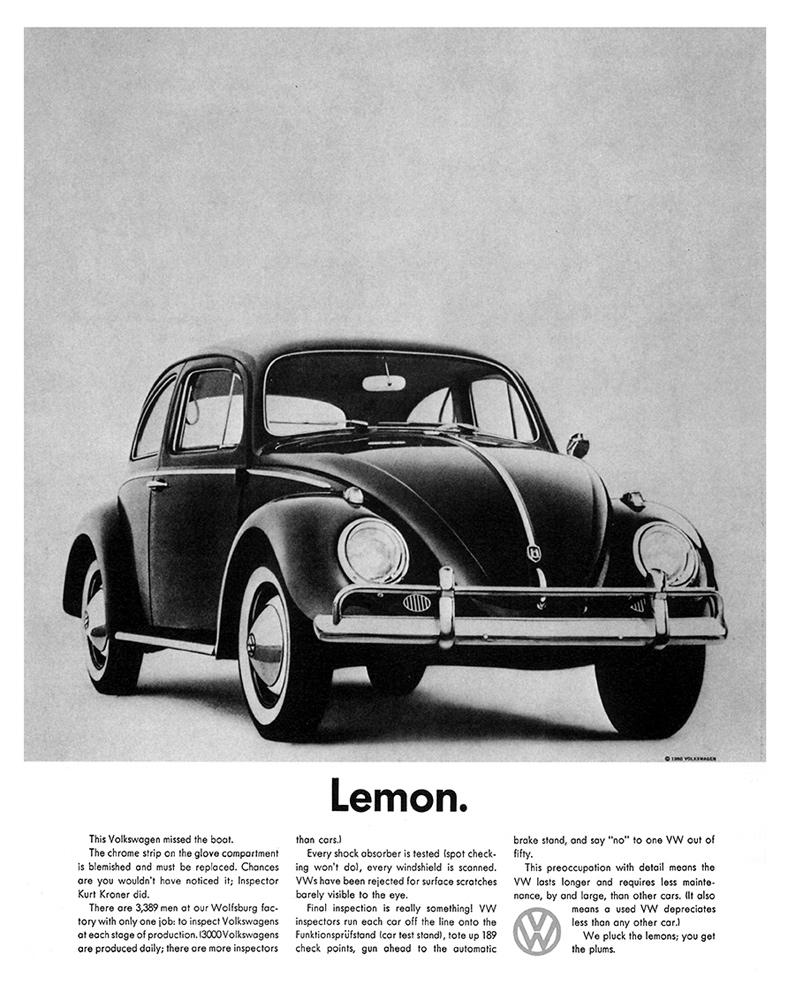 Volkswagen Lemon, oude advertentie met goed gebruik van witruimte