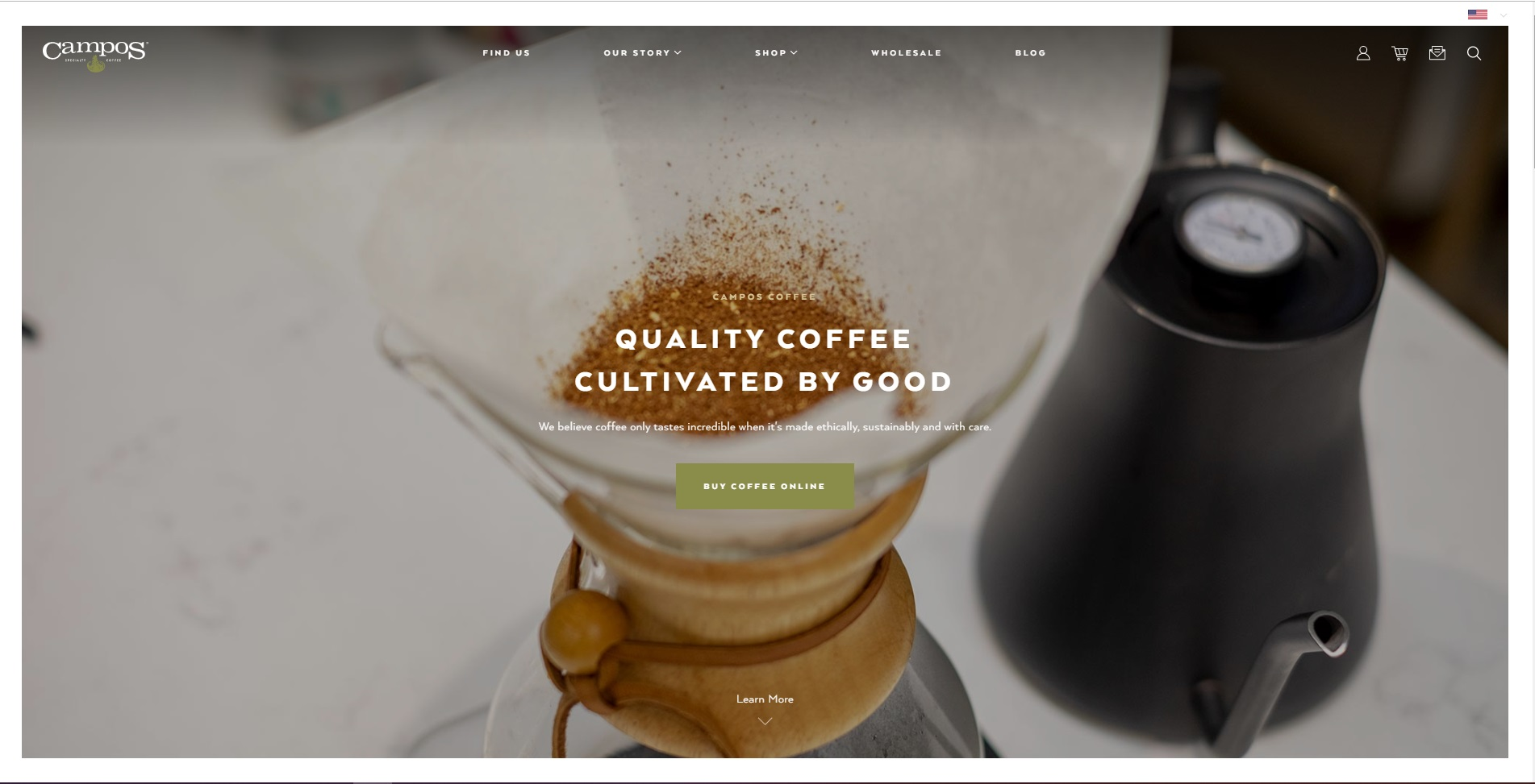 Campos Coffee homepage screenshot