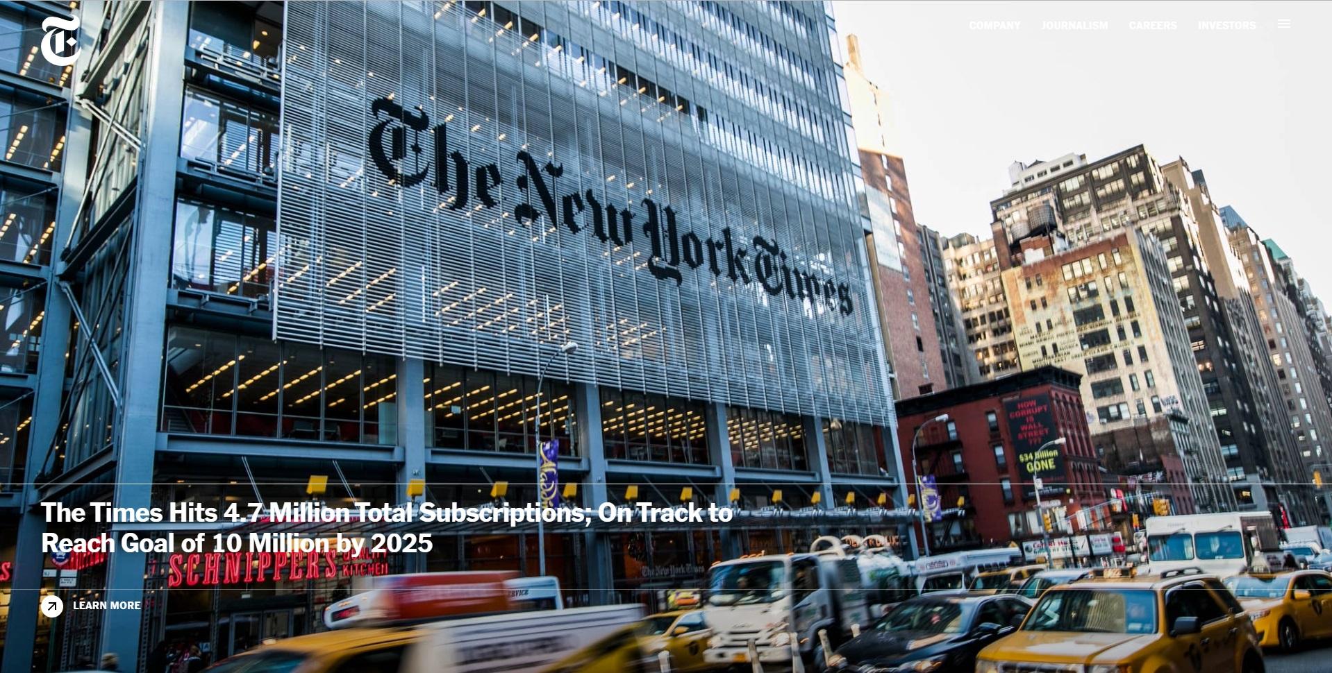 Website-screenshot van New York Times Company