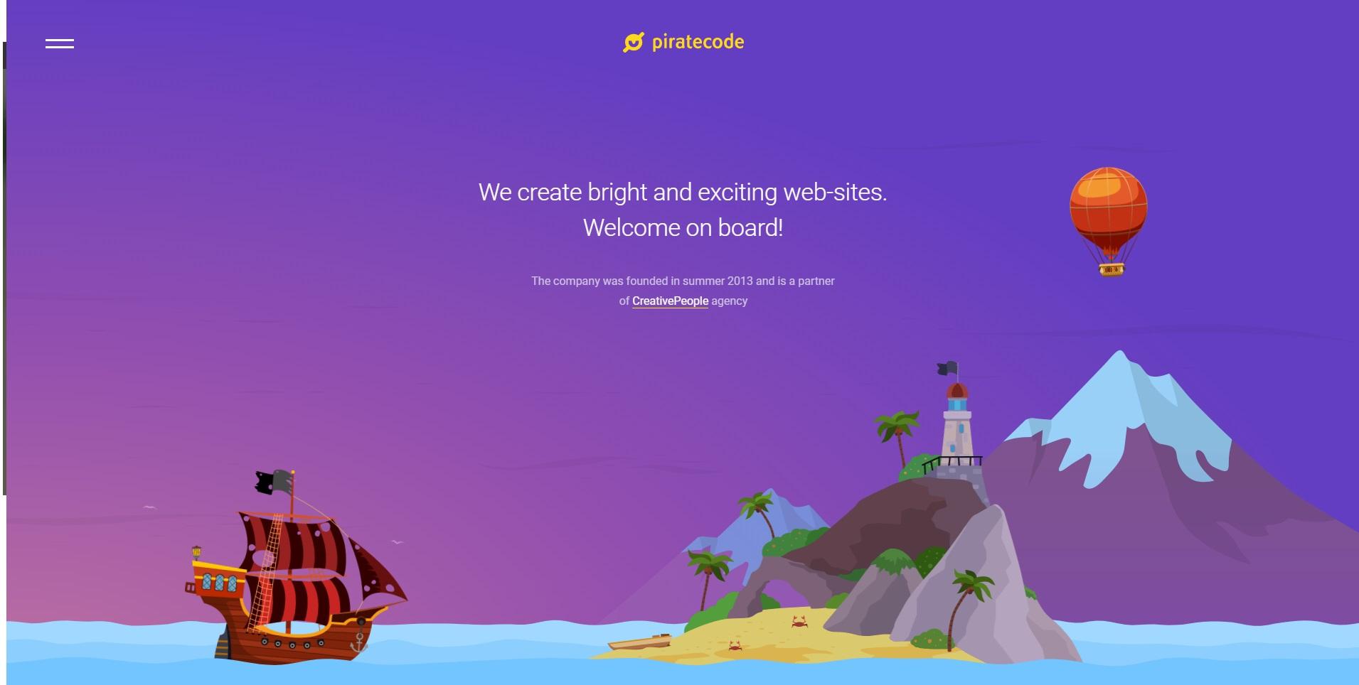 Mooie website van designbureau Piratecode