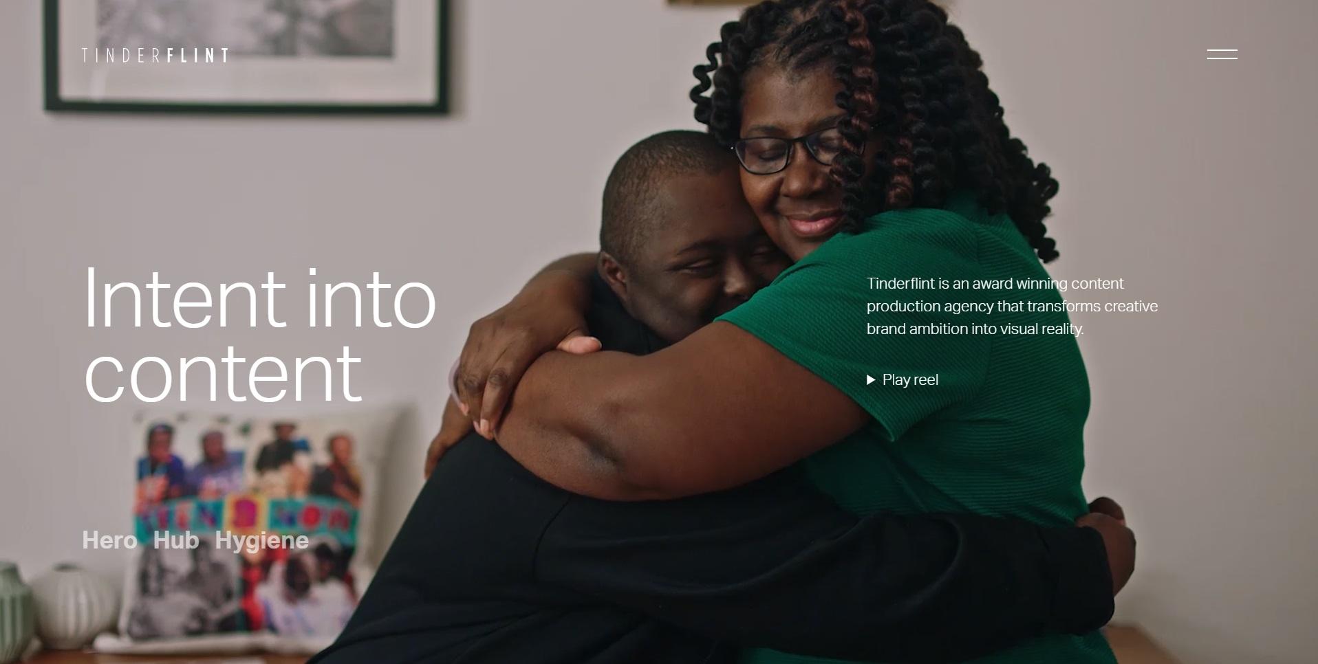 Tinderflint gebruikt veel video op hun website