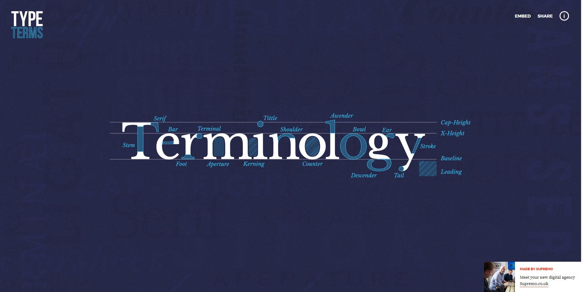 Mooie website over typografie genaamd Typeterms