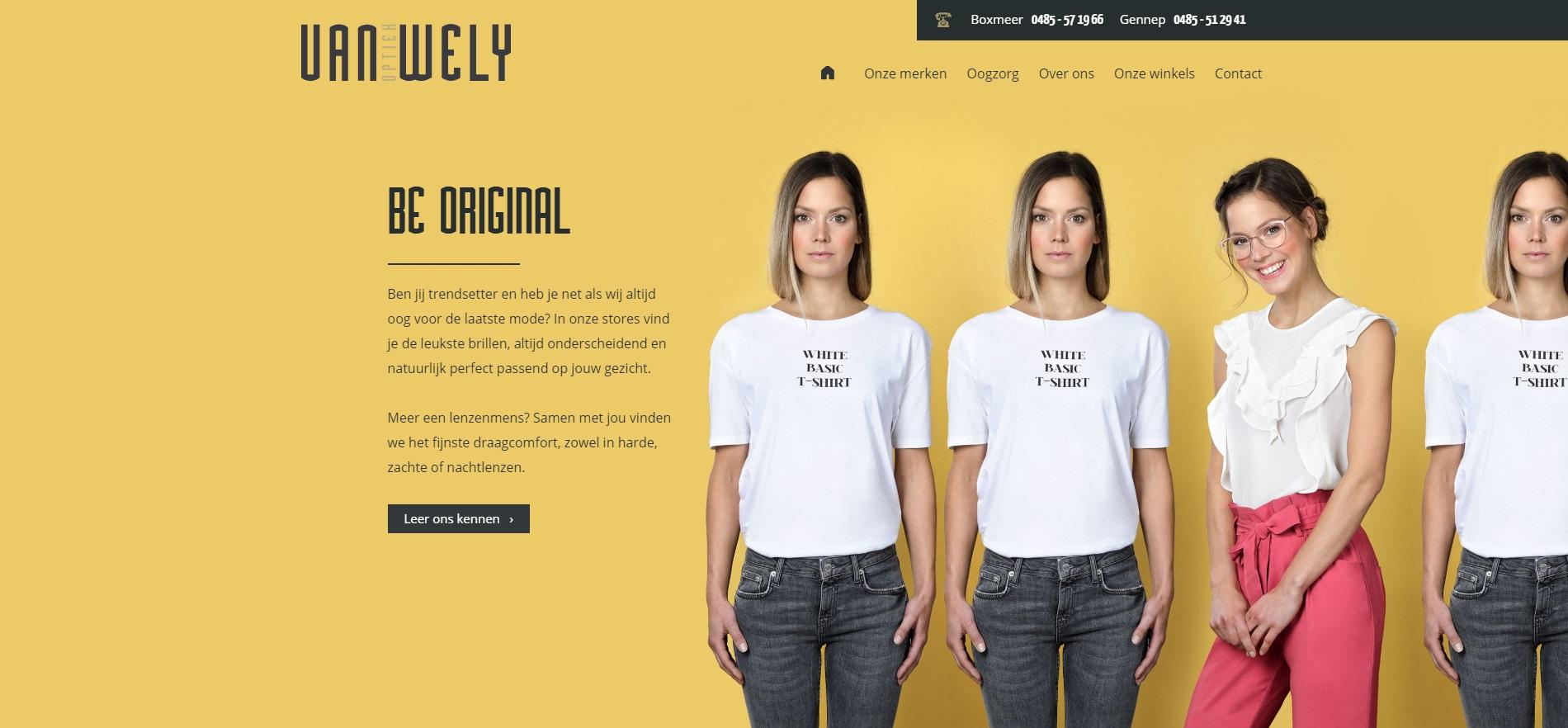 Screenshot van de website van Van Wely Optiek