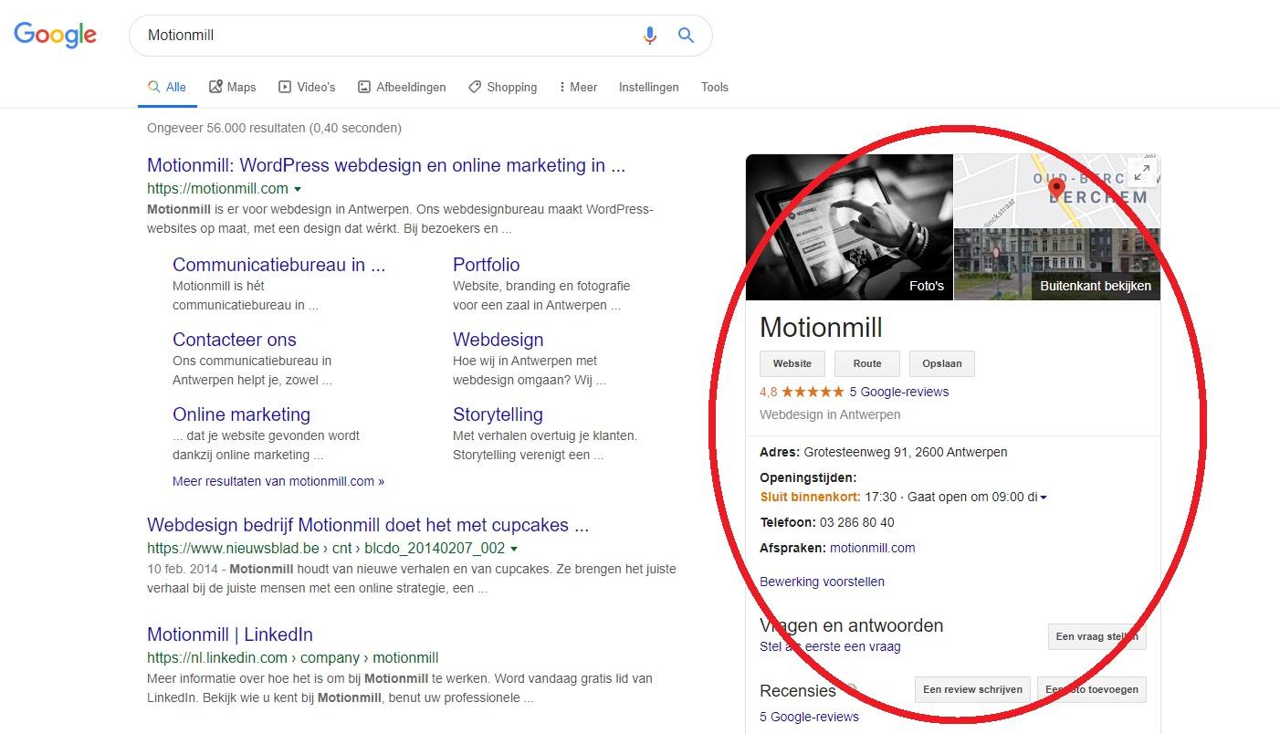 Motionmill-vermelding in Google zoekmachine