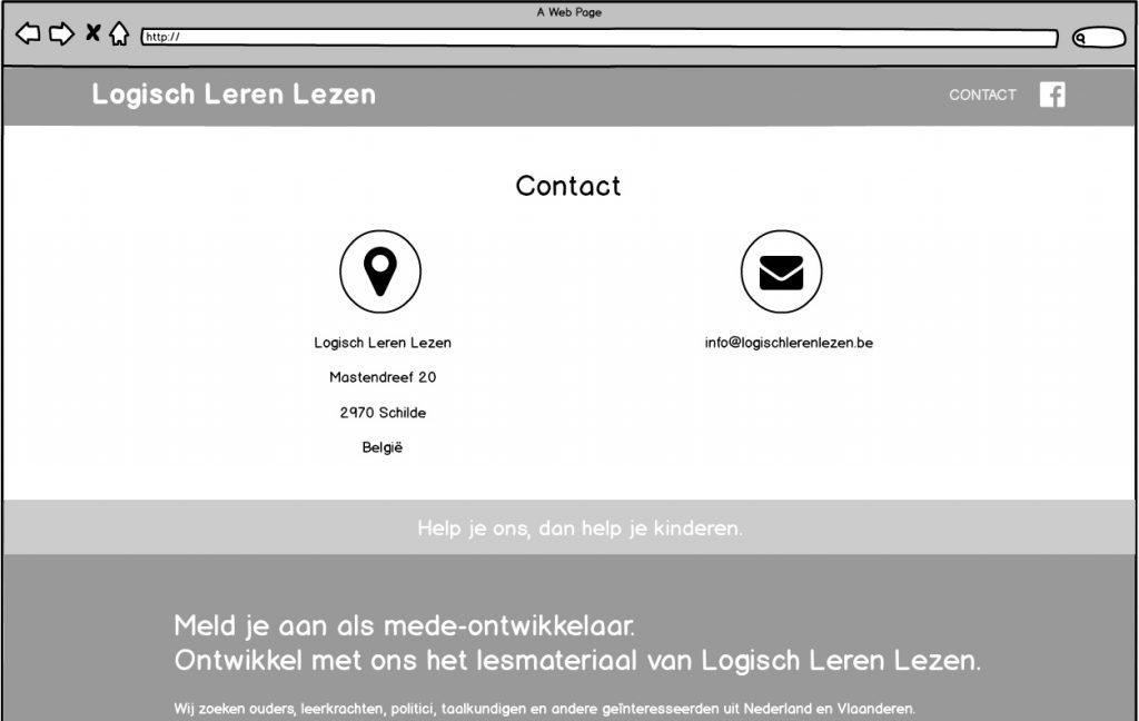 Wireframe Logisch Leren Lezen - Contact