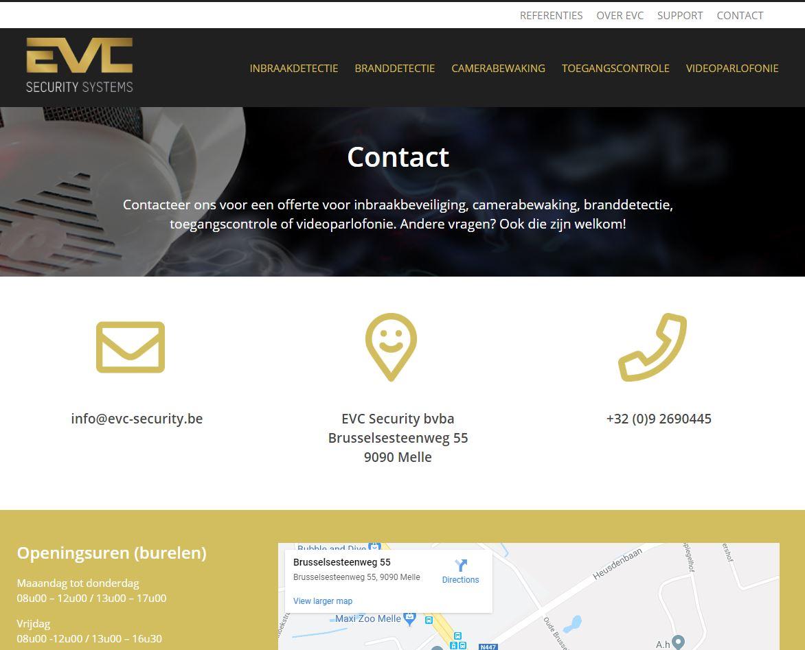 EVC contactpagina na vernieuwing website