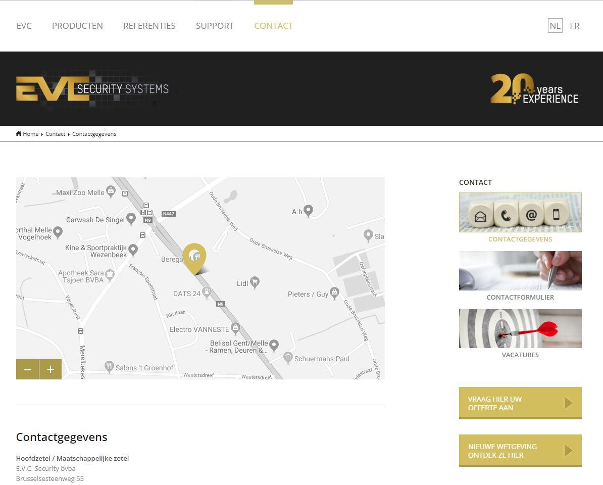 EVC contactpagina voor vernieuwing website