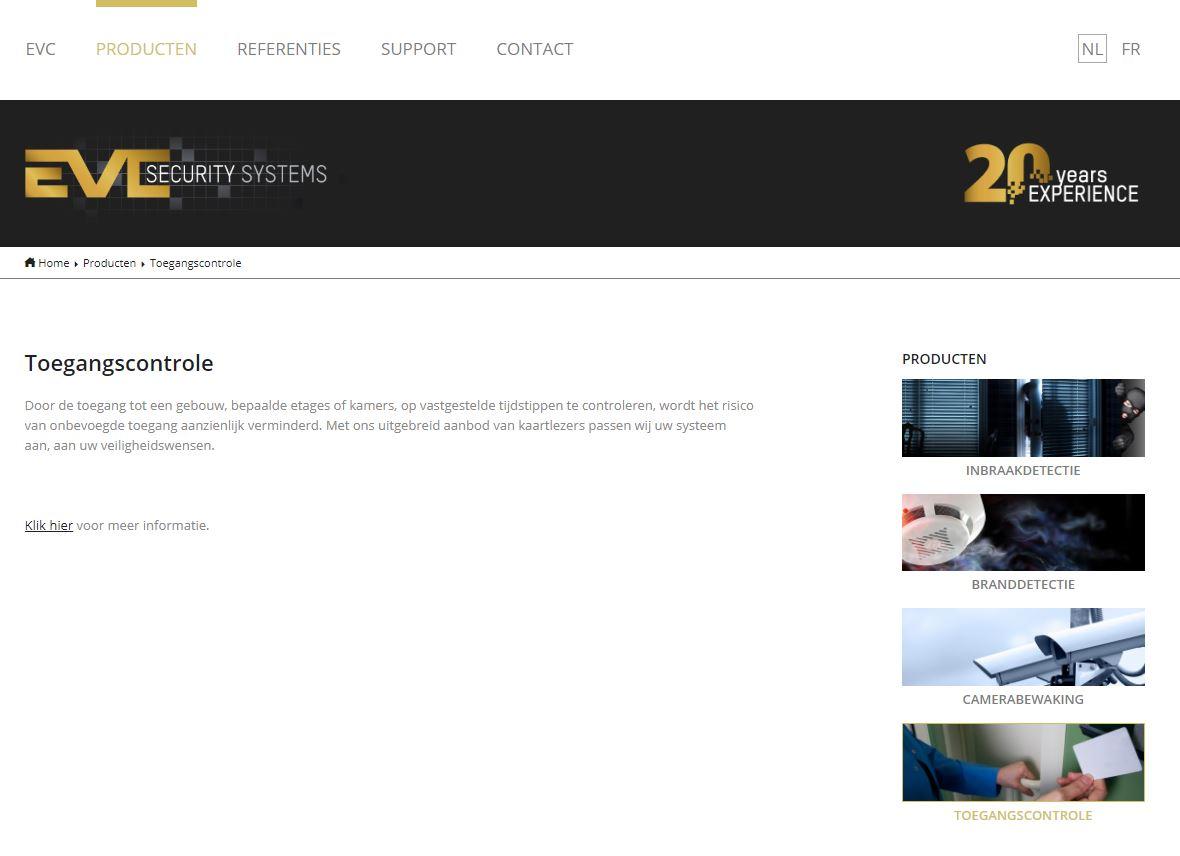 EVC productpagina voor vernieuwing website