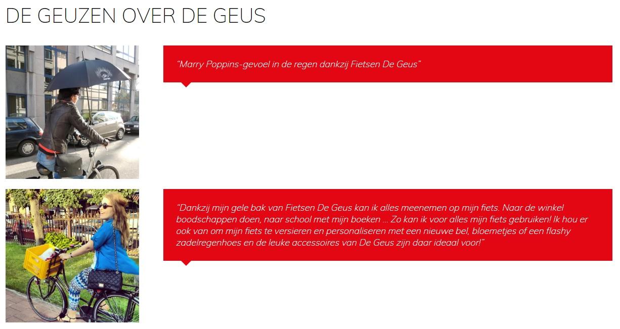 Screenshot van de website van Fietsenwinkel De Geus
