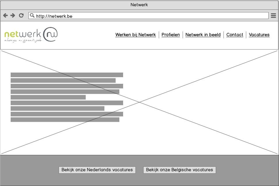 Wireframes voor de website van Netwerk