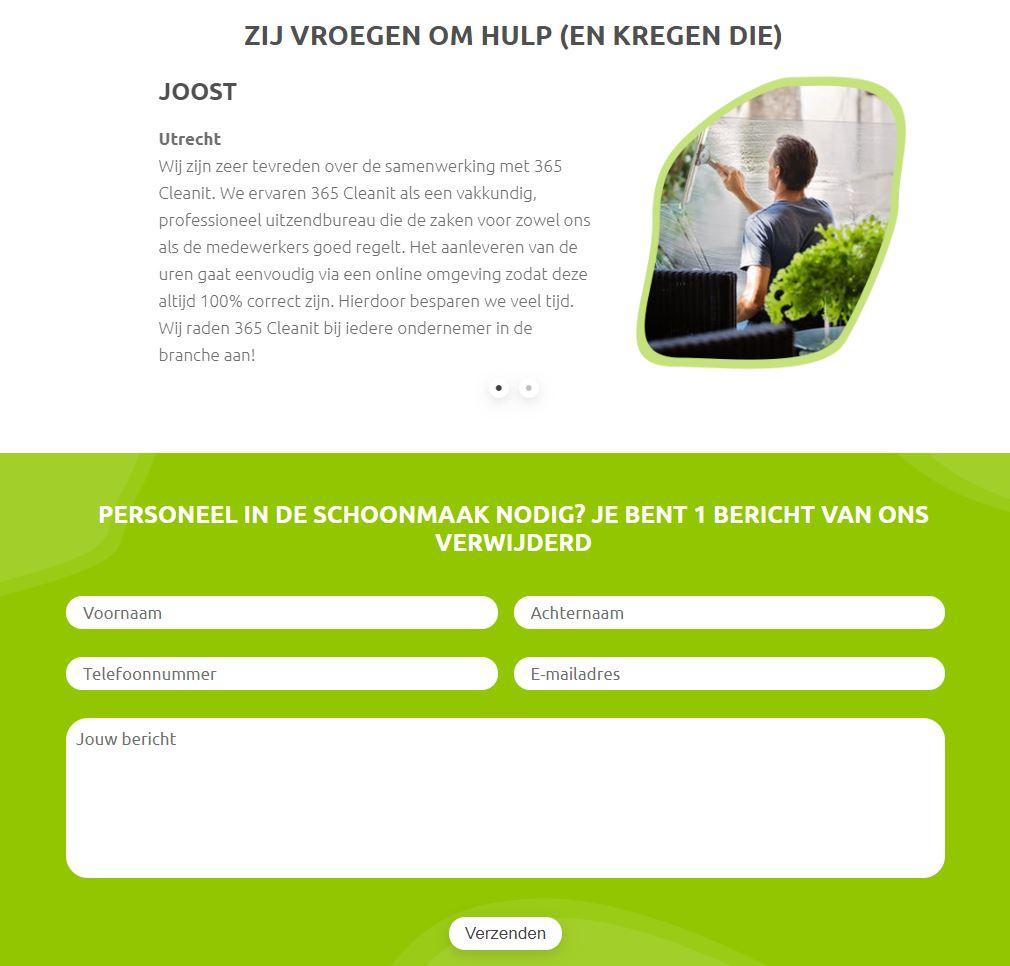 Website voor schoonmaakbedrijf - Ik zoek personeel contactformulier