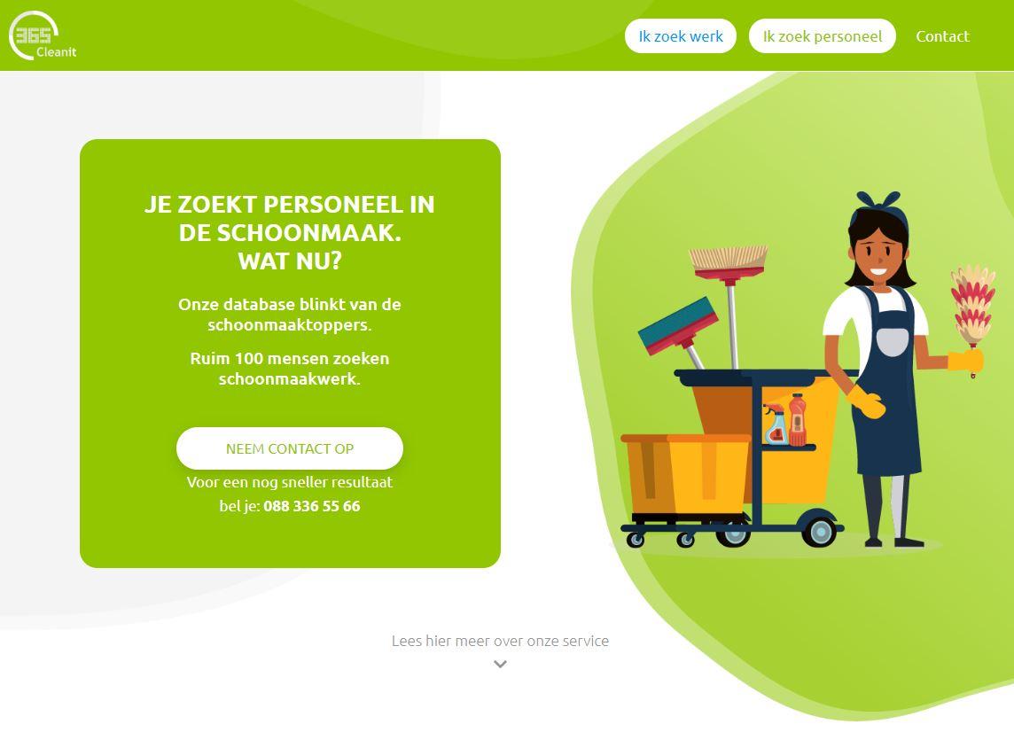 Website voor schoonmaakbedrijf - Ik zoek personeel
