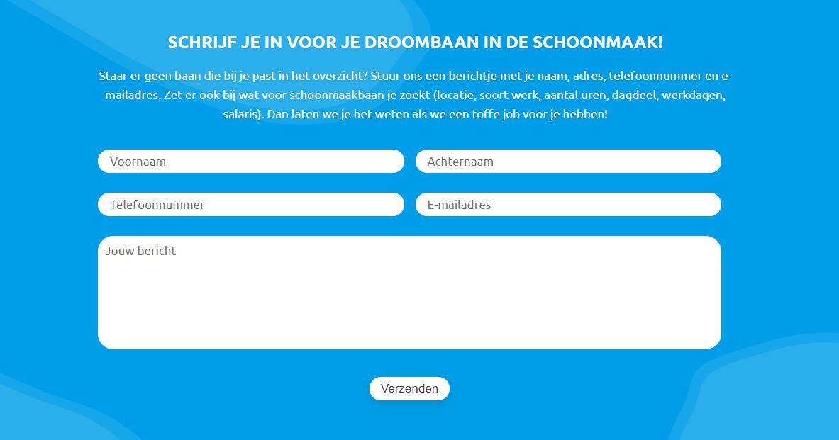 Website voor schoonmaakbedrijf - Ik zoek werk contactformulier