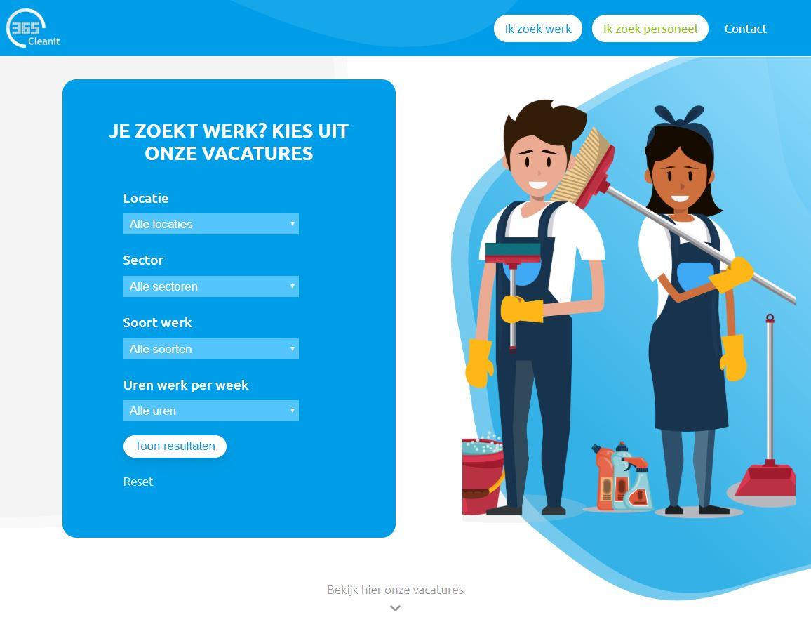 Website voor schoonmaakbedrijf - Ik zoek werk