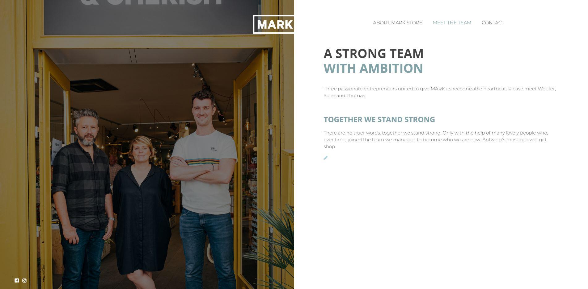 Teampagina van een website