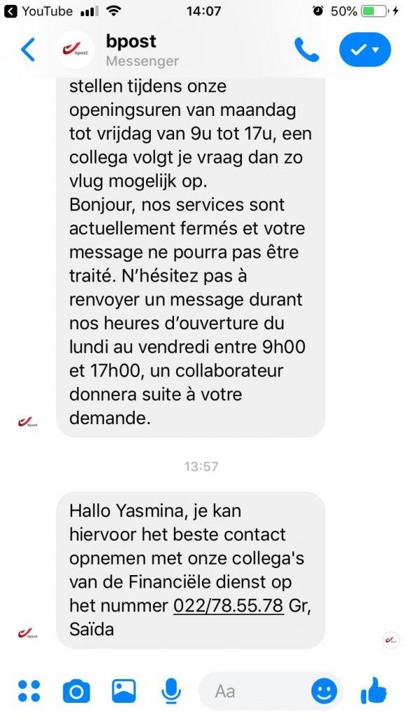 bpost klantenservice facebook messenger
