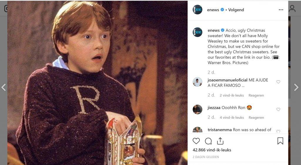 enews ron weasley ugly christmas sweater instagram