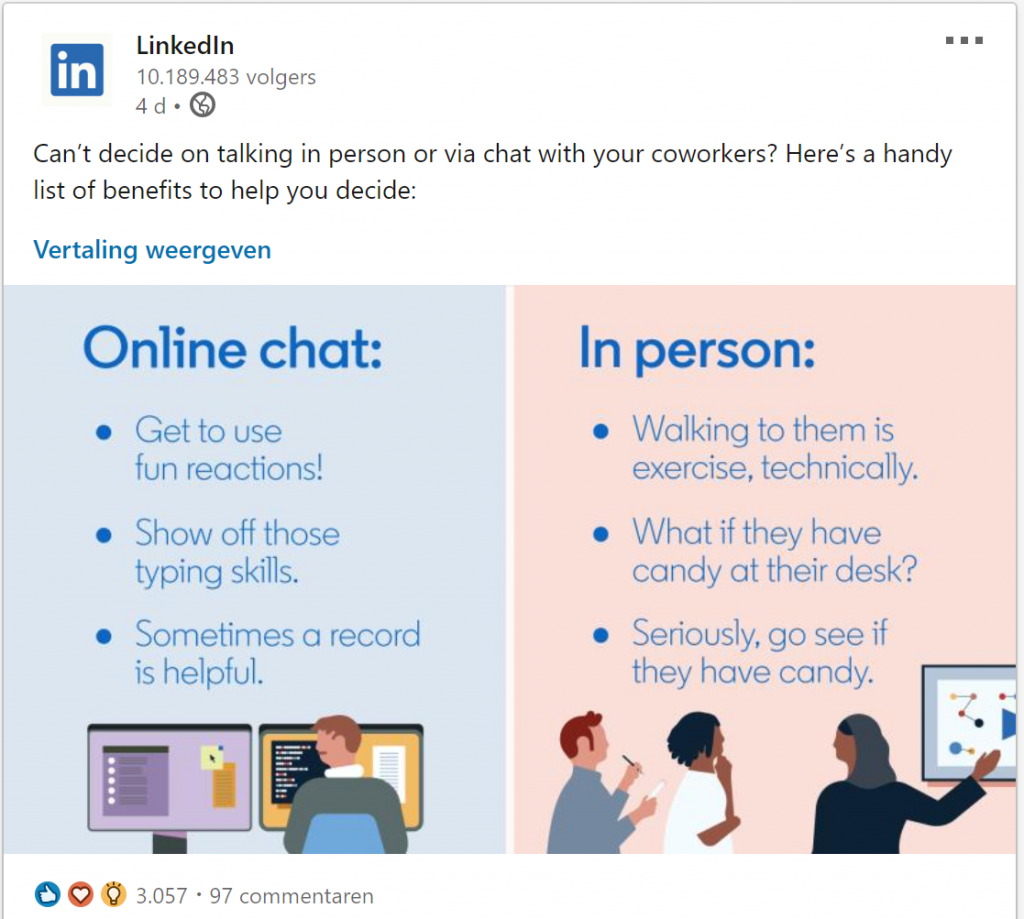 linkedin online chat vs in persoon