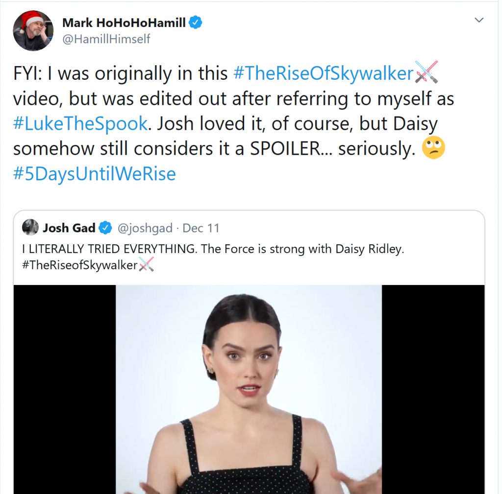 mark hamill the rise of skywalker tweer