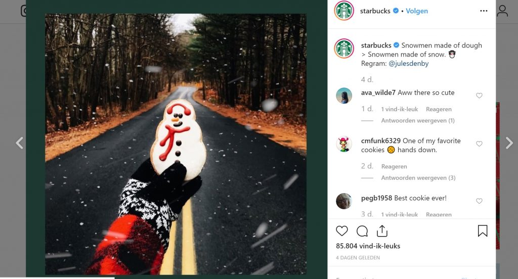 starbucks ugc post kerstmis instagram
