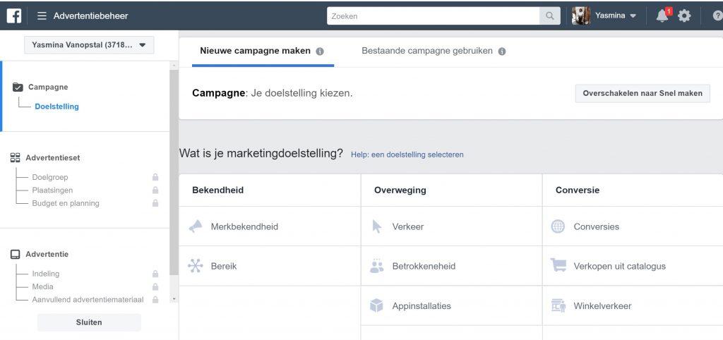 facebook advertentie marketingdoelstelling