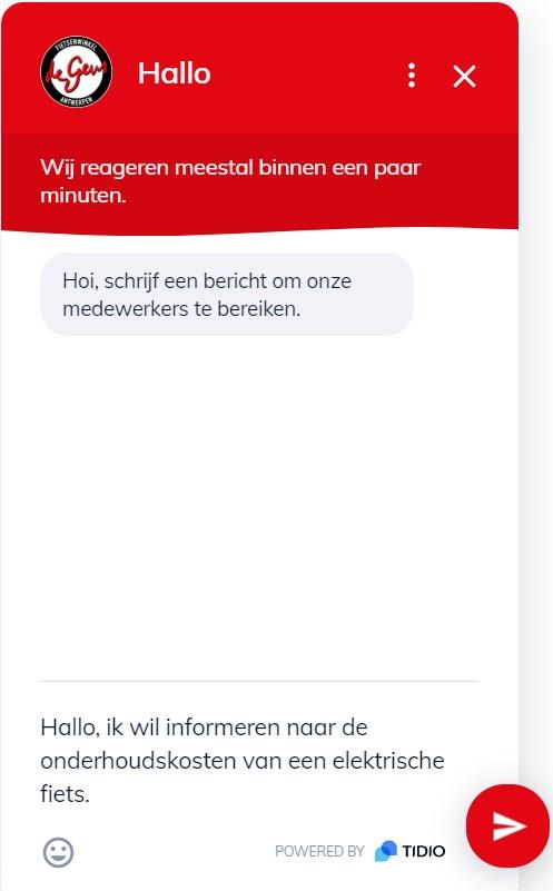 Chatfunctie op website van Fietsenwinkel De Geus