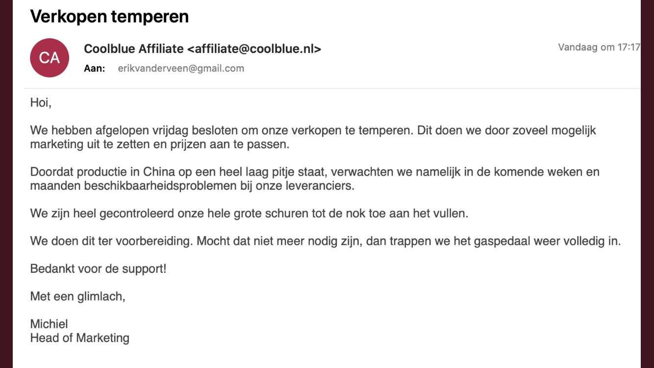 E-mail van Coolblue over minder levering door coronavirus