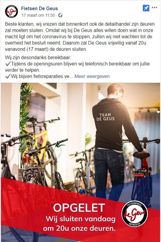Crisiscommunicatie op Facebook van Fietsenwinkel De Geus tijdens coronavirus