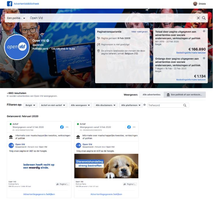 Facebook-advertenties van Open VLD