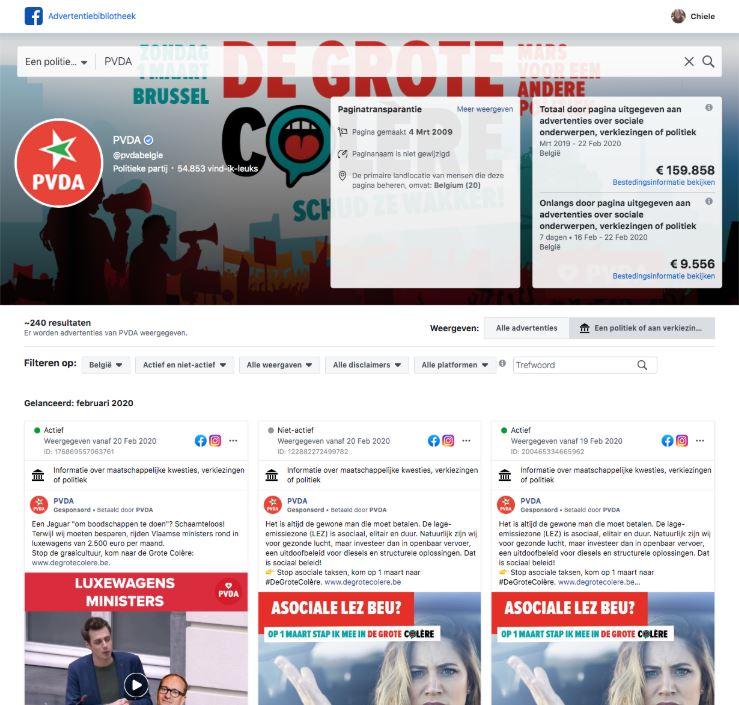 Facebook-advertenties van politieke partij PVDA België