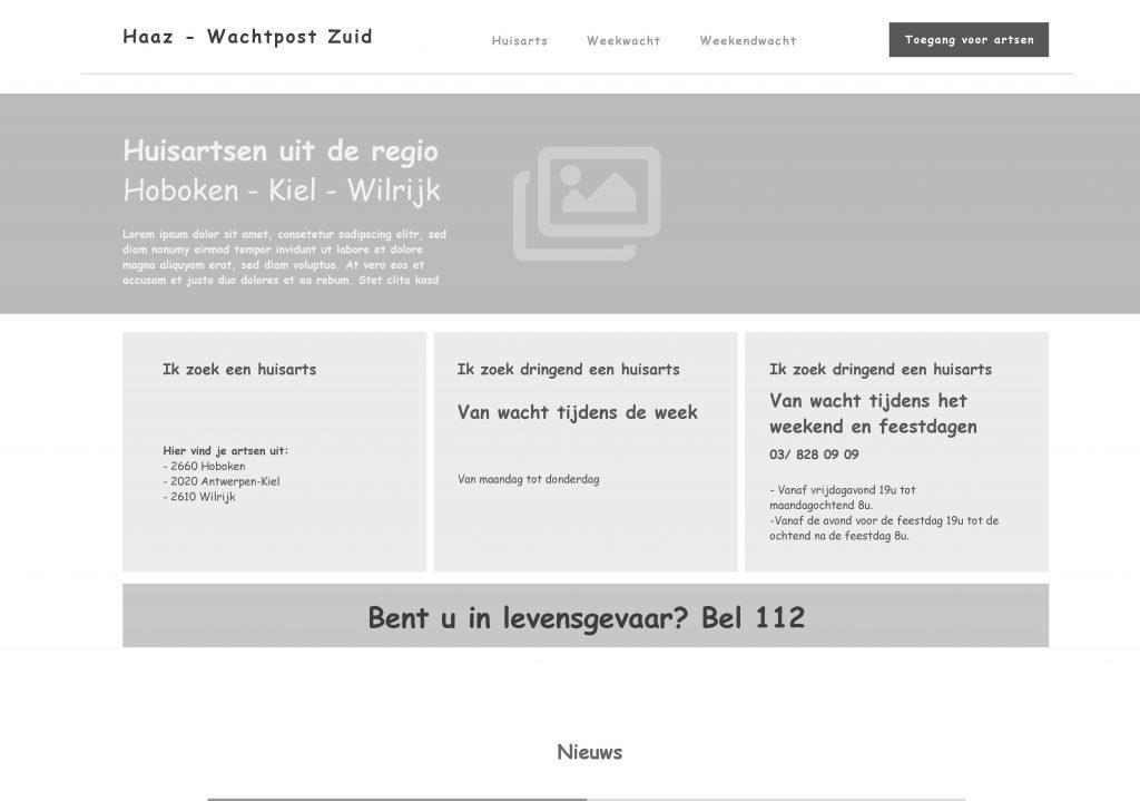 Huisartsen Antwerpen Zuid Wireframe Homepagina