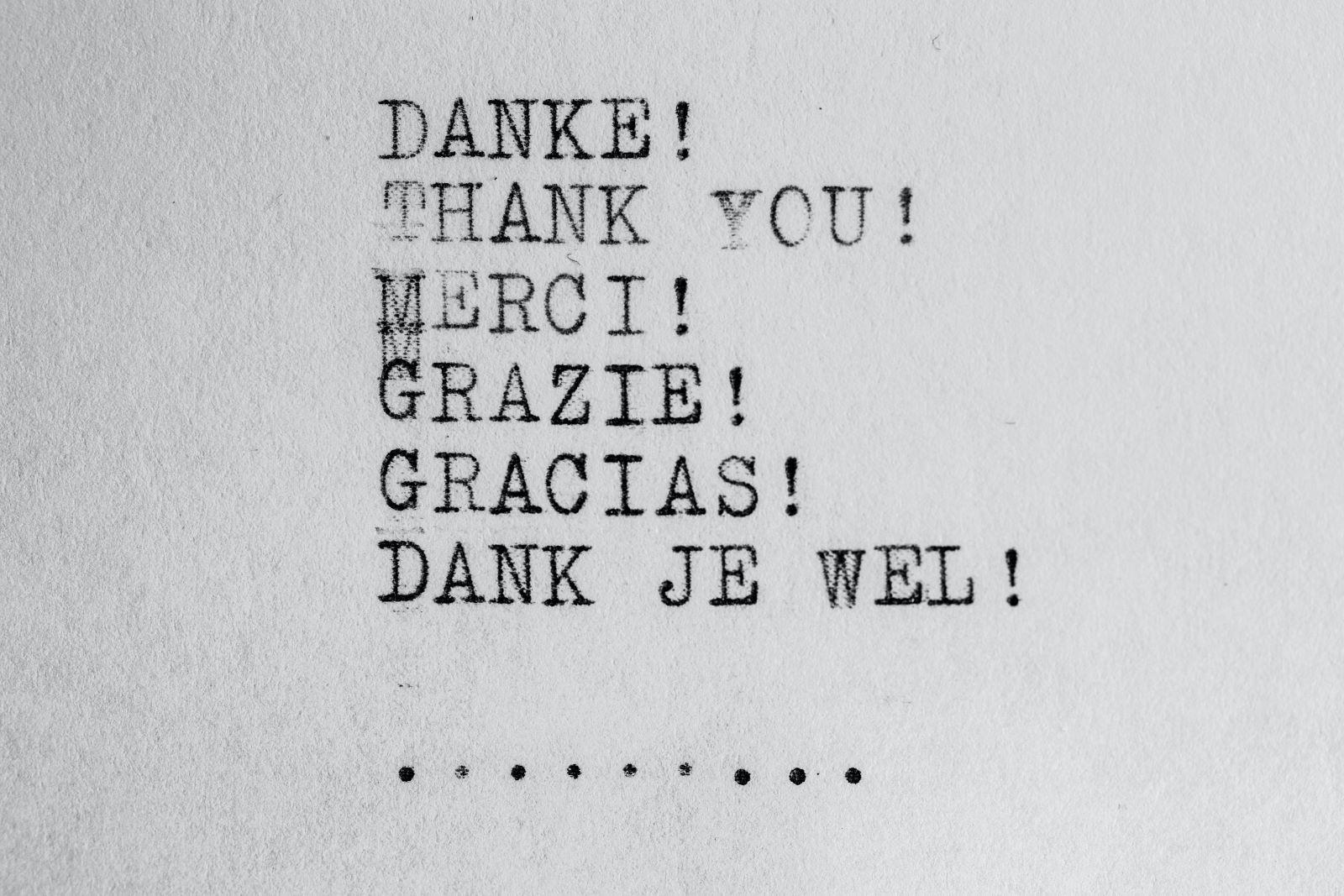 Dank je wel in andere talen