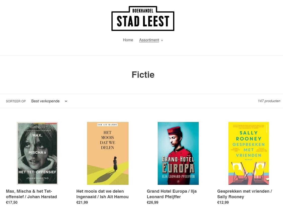 De webshop van boekhandel Stad Leest uit Antwerpen