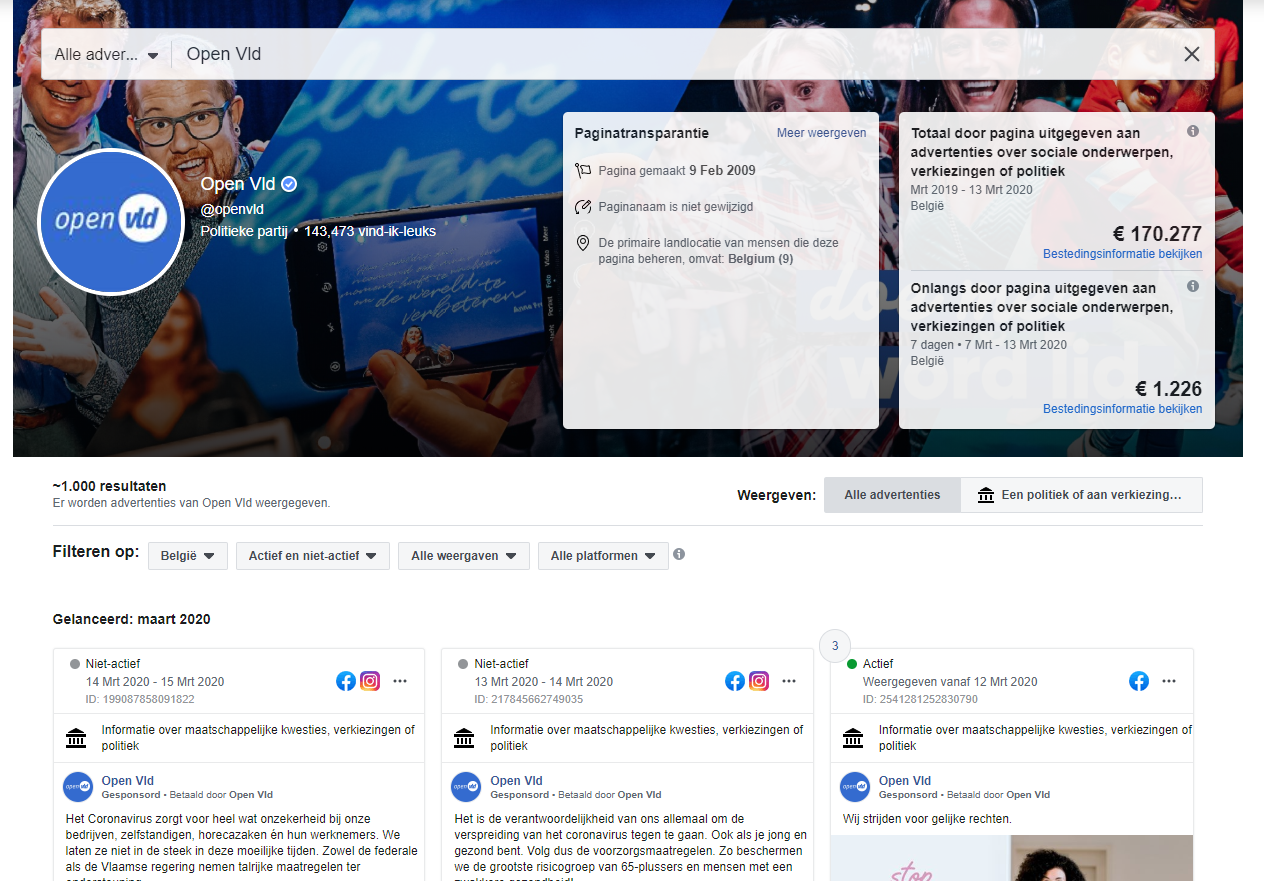 Facebook Advertentiebibliotheek - Openvld