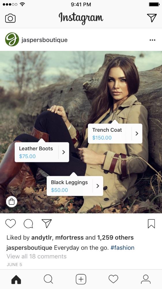 Voorbeeld van Instagram Shopping