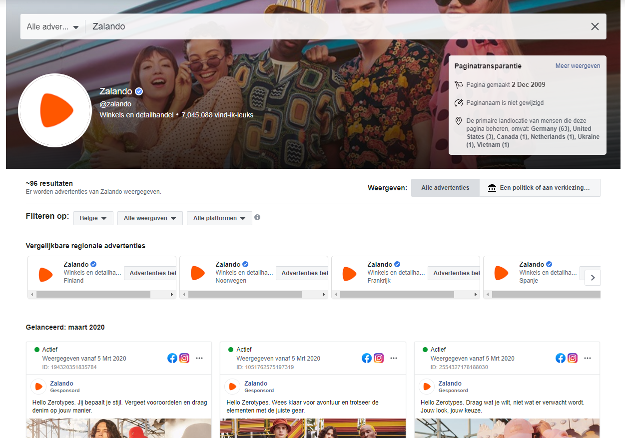Facebook Advertentiebibliotheek - Zalando