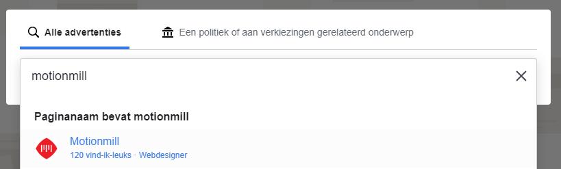 Facebook Advertentiebibliotheek - zoeken naar een gewone of politieke pagina
