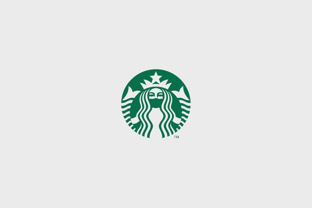 Logo Starbucks corona mondmasker