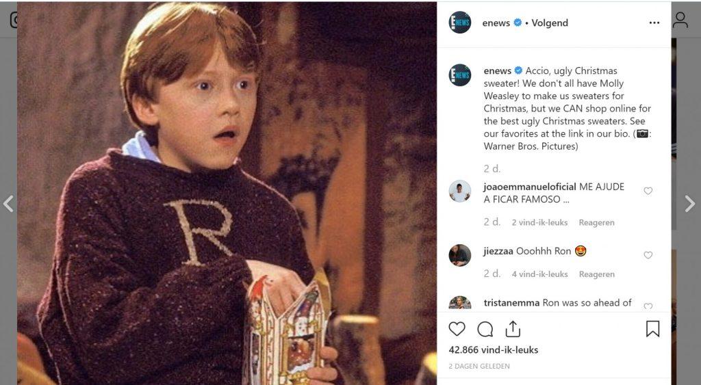 enews-ron-weasley-ugly-christmas-sweater-instagram