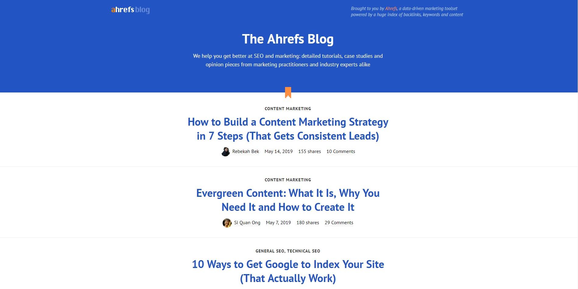 Beste marketingblogs - Ahrefs