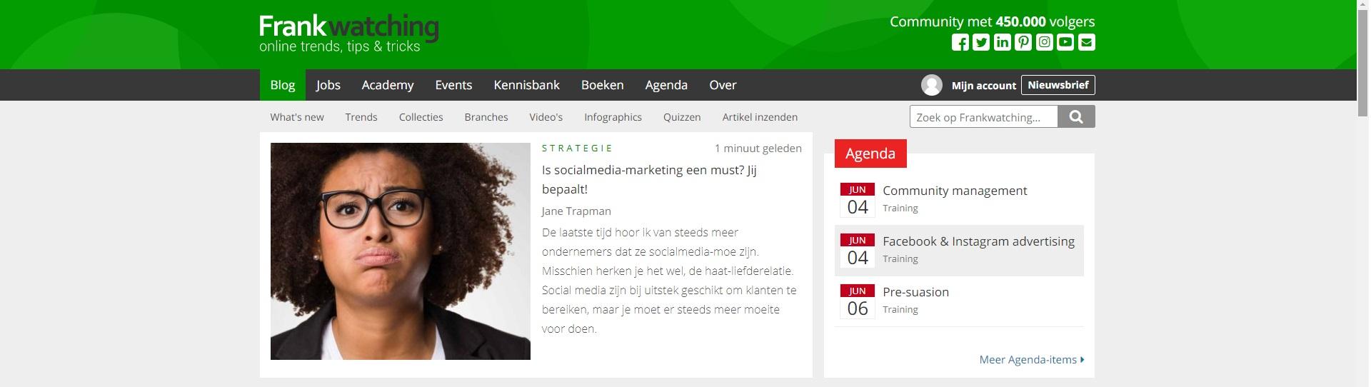 Beste marketingblogs - Frankwatching