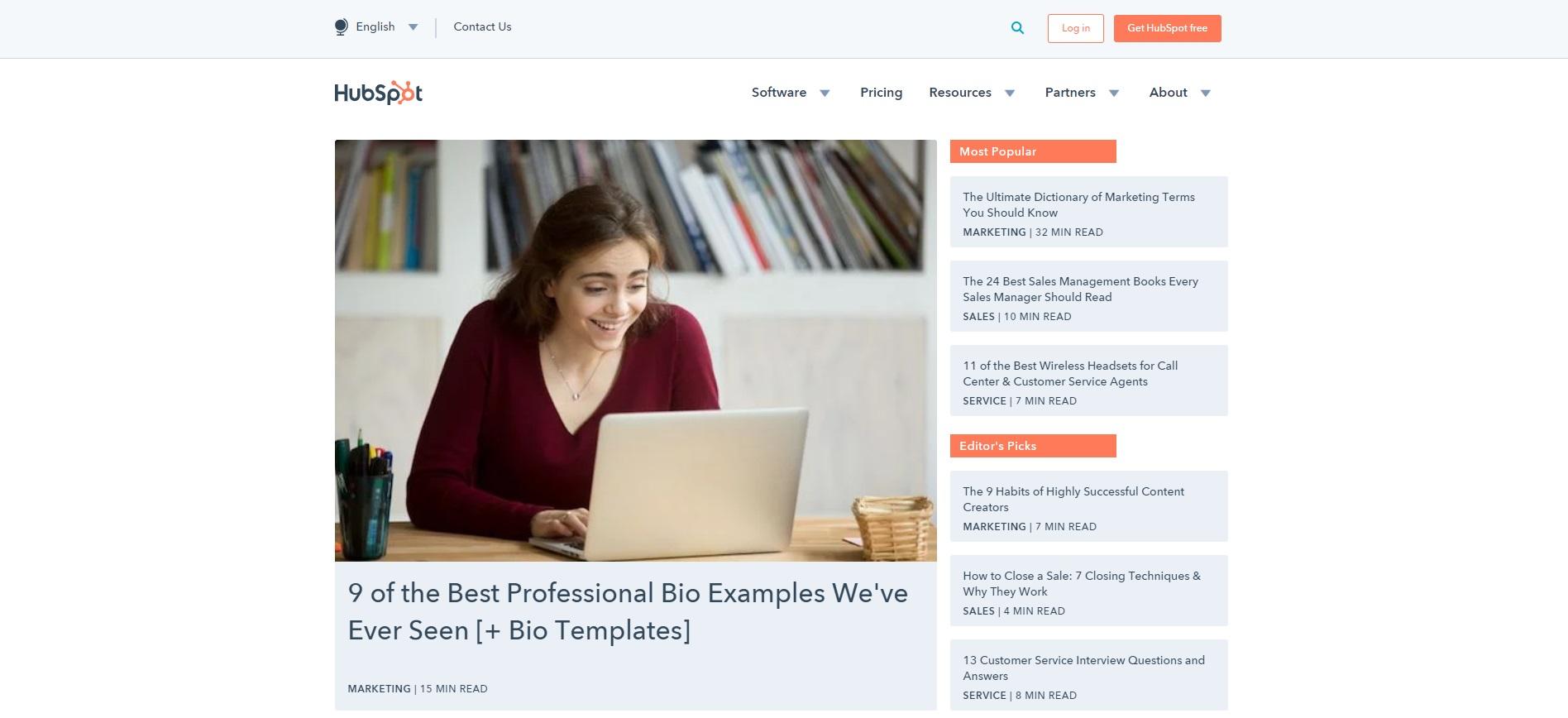 Beste marketingblogs - Hubspot