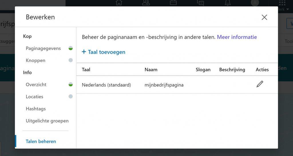 LinkedIn talen beheren