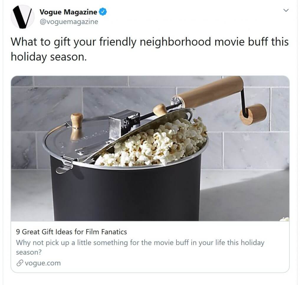 Vogue gift guide kerstmis Twitter