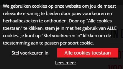 Voorbeeld van goede cookiemelding