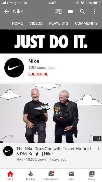 YouTube Nike smartphone