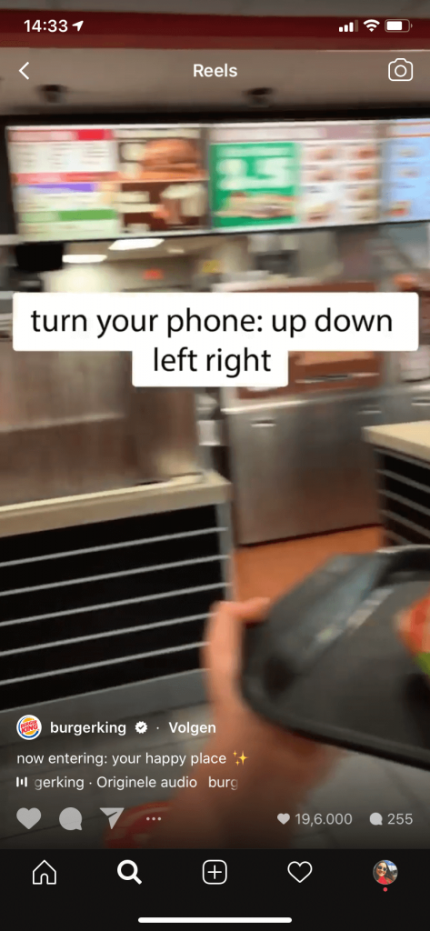 Instagram Reels voor bedrijven - Burger King
